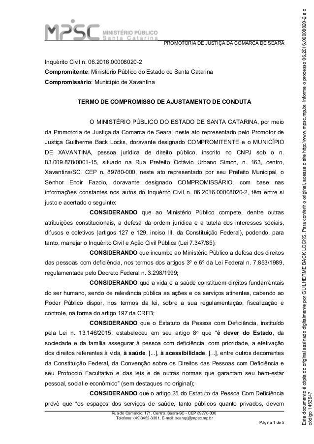 PROMOTORIA DE JUSTIÇA DA COMARCA DE SEARA Rua do Comércio, 171, Centro, Seara-SC - CEP 89770-000 Telefone: (49)3452-3301, ...