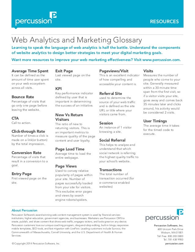 RESOURCES © Copyright 2014 Percussion Software, Inc. percussion.com Web Analytics and Marketing Glossary Learning to speak...