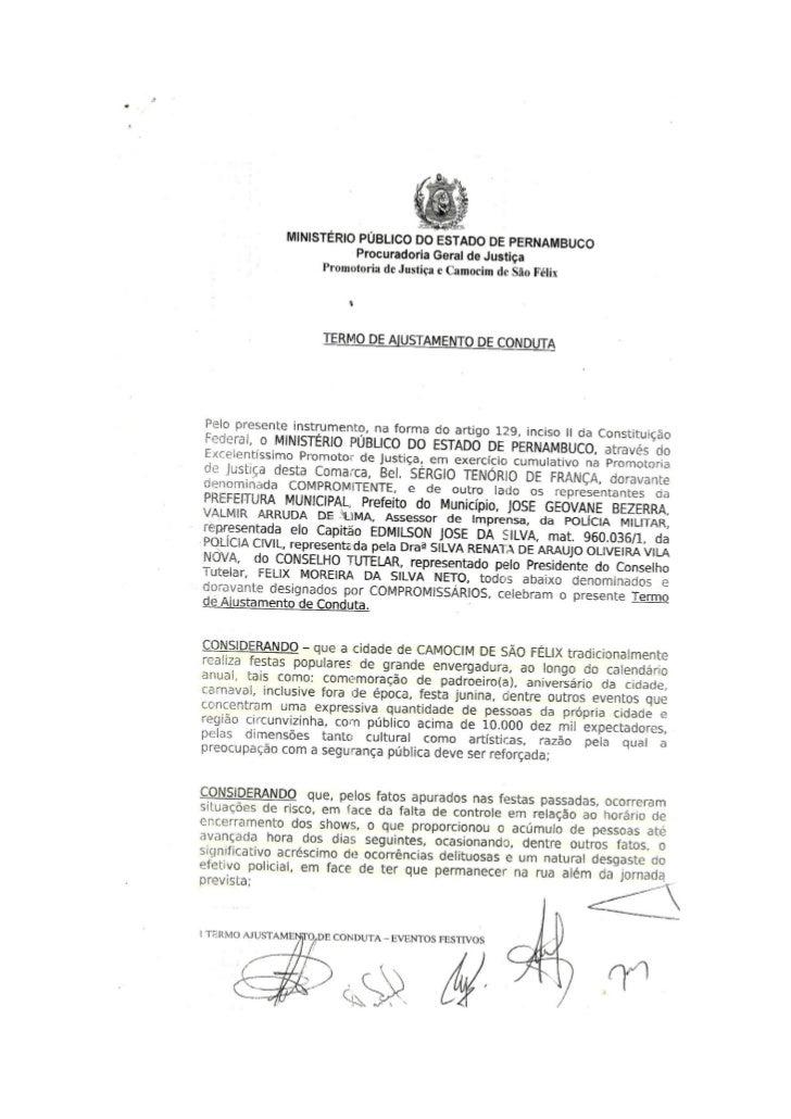 TERMO DE AJUSTAMENTO DE CONDUTA - EVENTOS