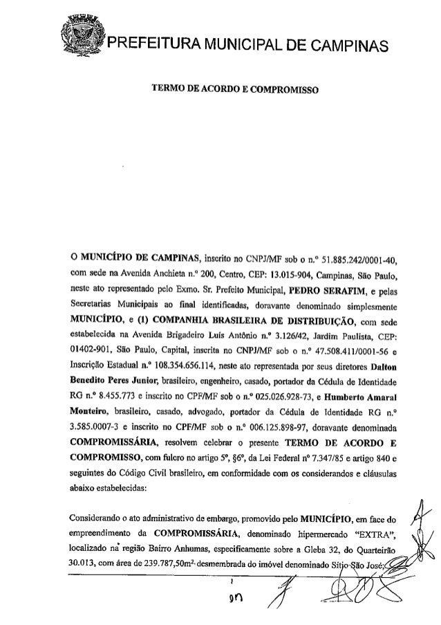 -.   PREFEITURA MUNICIPAL DE CAMPINAS        TERMO DE ACORDO E COMPROMISSO  O MUNICÍPIO DE CAMPINAS,  inscrito no CNPJ/ MF...