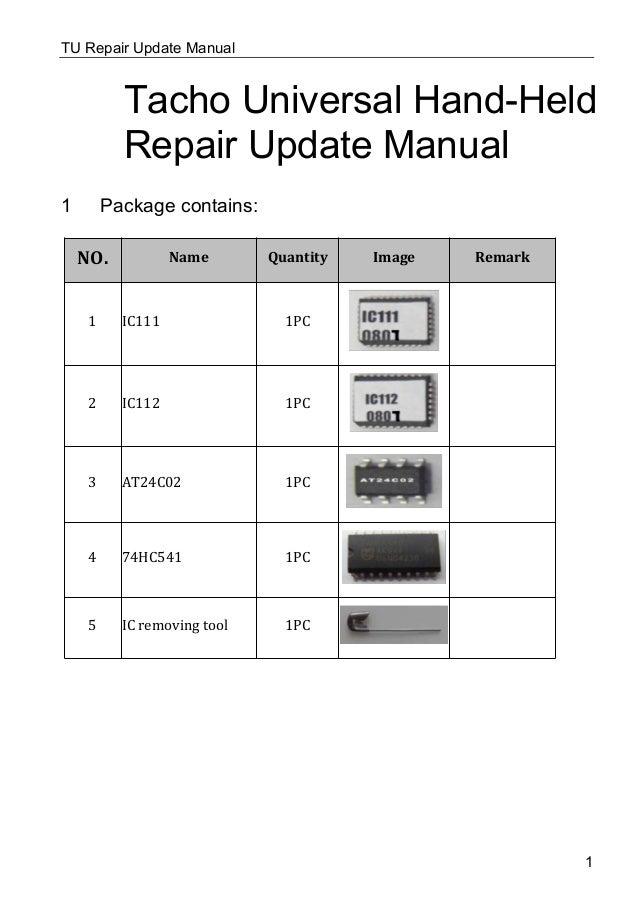 tacho universal update repair kit user manual rh slideshare net Amp Building Kits Car Amp Kit