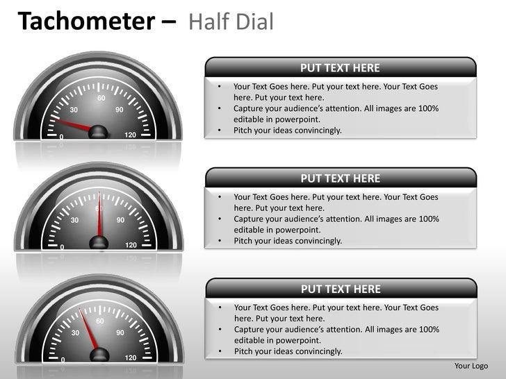 Speedometer Tachometer Half Dial Powerpoint Presentation Templates