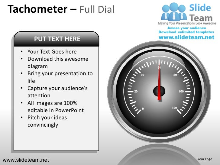 Tachometer – Full Dial           PUT TEXT HERE      • Your Text Goes here      • Download this awesome        diagram     ...