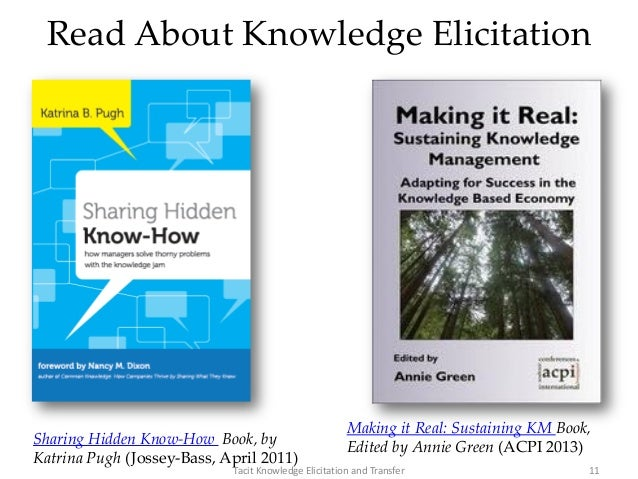 Read About Knowledge Elicitation Sharing Hidden Know-How Book, by Katrina Pugh (Jossey-Bass, April 2011) 11Tacit Knowledge...