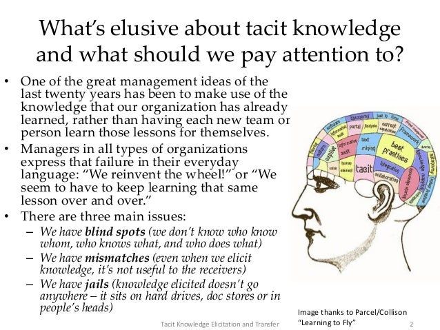 What's elusive about tacit knowledge and what should we pay attention to? • One of the great management ideas of the last ...