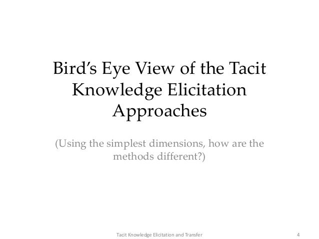 Bird's Eye View of the Tacit Knowledge Elicitation Approaches (Using the simplest dimensions, how are the methods differen...