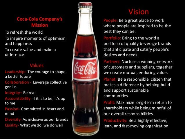 Vision       Coca-Cola Company's                People: Be a great place to work             Mission                      ...