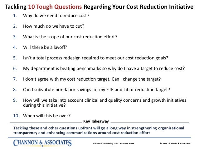 tackling 10 tough questions regarding your cost reduction initiative
