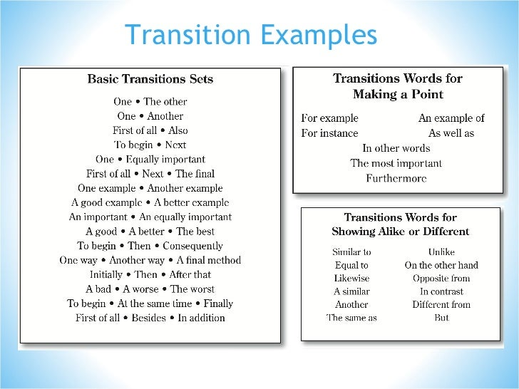 Good transitions for an essay