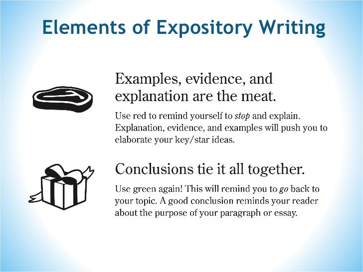 what are the elements of an expository essay Welcome to the rgo llc's guide to writing academic essays  key elements of  essays essay types: argumentative, comparative, expository & narrative.