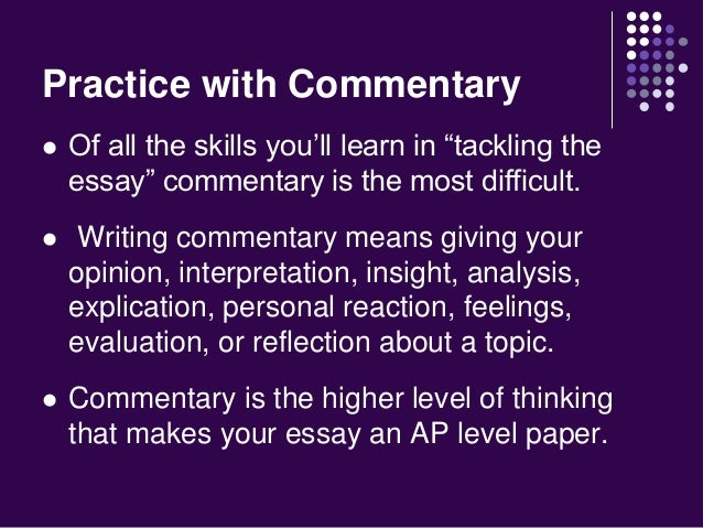 Tackling the essay mastering commentary
