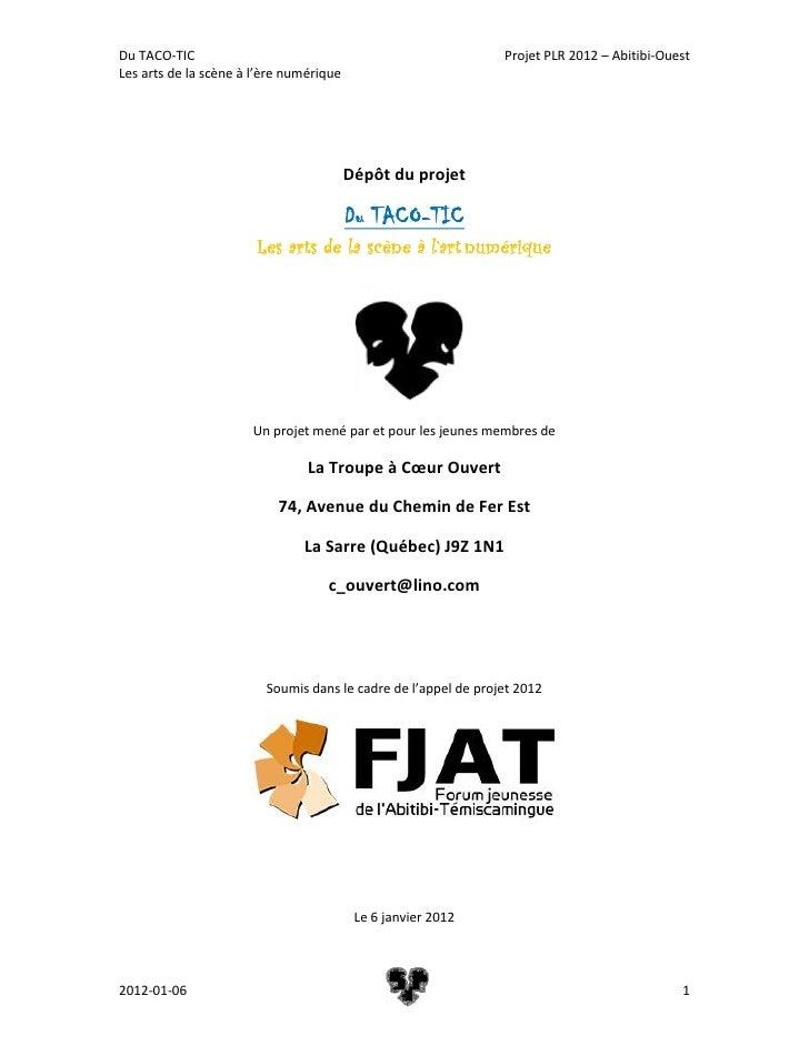 Du TACO-TIC                                                     Projet PLR 2012 – Abitibi-OuestLes arts de la scène à l'èr...