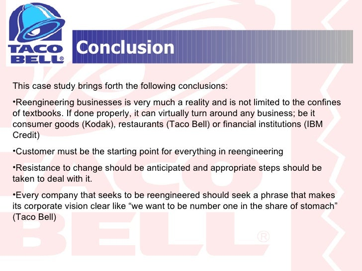 taco bell case study essay Let us write or edit the essay on your topic introduction and letter of transmittal on taco bell case study with a personal 20% discount.