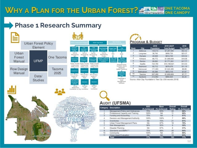 WHY A PLAN FOR THE URBAN FOREST? ONE TACOMA ONE CANOPY Phase 1 Research Summary 12 Urban Forest Policy Element Urban Fores...