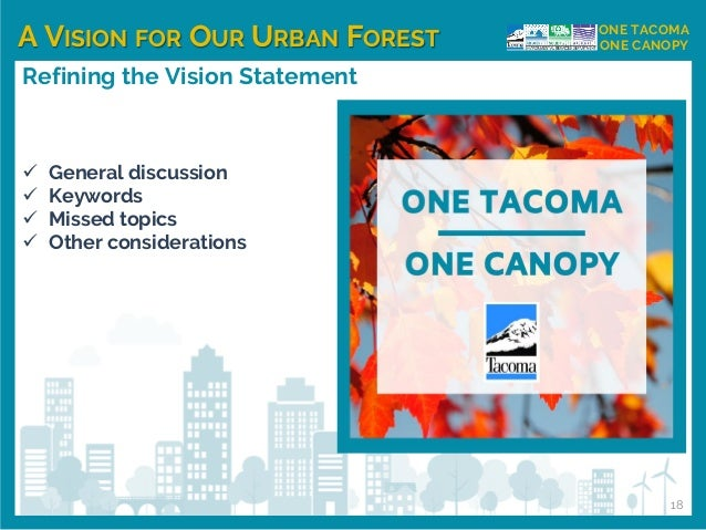 A VISION FOR OUR URBAN FOREST ONE TACOMA ONE CANOPY Refining the Vision Statement ✓ General discussion ✓ Keywords ✓ Missed...
