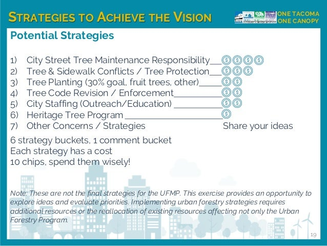 STRATEGIES TO ACHIEVE THE VISION ONE TACOMA ONE CANOPY Potential Strategies 1) City Street Tree Maintenance Responsibility...