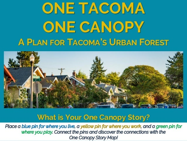 A PLAN FOR TACOMA'S URBAN FOREST ONE TACOMA ONE CANOPY What is Your One Canopy Story? Place a blue pin for where you live,...