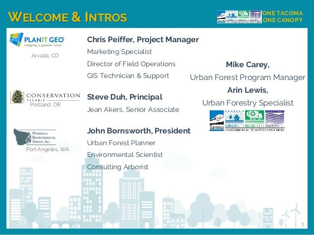 WELCOME & INTROS ONE TACOMA ONE CANOPY Chris Peiffer, Project Manager Marketing Specialist Director of Field Operations GI...