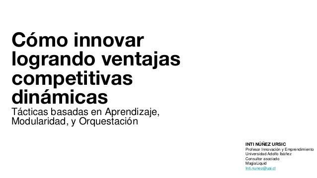 Cómo innovar logrando ventajas competitivas dinámicas Tácticas basadas en Aprendizaje, Modularidad, y Orquestación INTI NÚ...