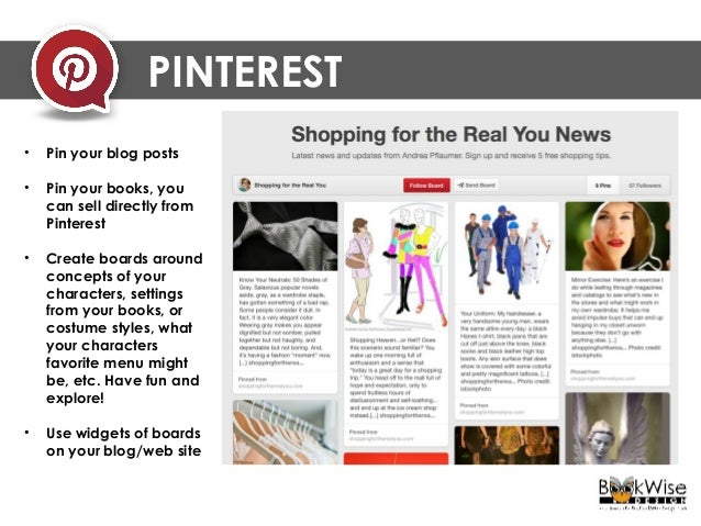 Pin a board widget in the sidebar of your website. This author, Andrea Pflaumer, started writing about her Pins & Boards i...