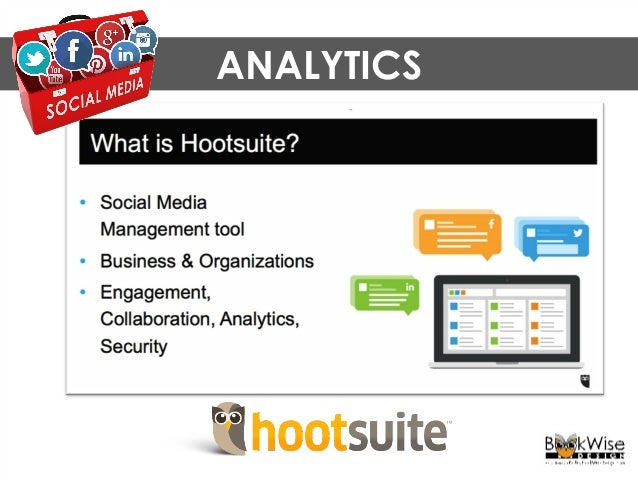 """ANALYTICS You can use the """"starter"""" level of Hootsuite for free."""