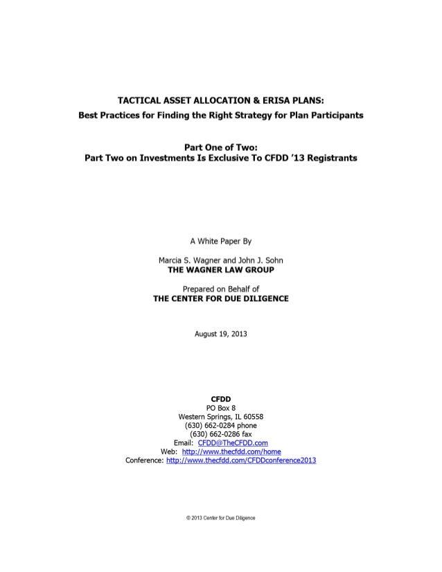 Tactical Asset Allocation & ERISA Plans