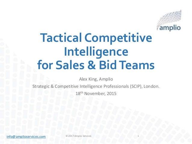 info@amplioservices.com Tactical Competitive Intelligence for Sales & BidTeams Alex King, Amplio Strategic & Competitive I...
