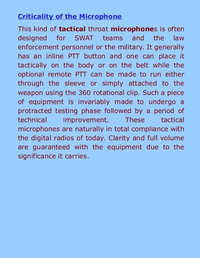 Tactical Microphone for Undercover Work Slide 2