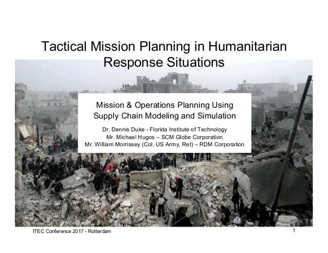 1ITEC Conference 2017 - Rotterdam Mission & Operations Planning Using Supply Chain Modeling and Simulation Dr. Dennis Duke...