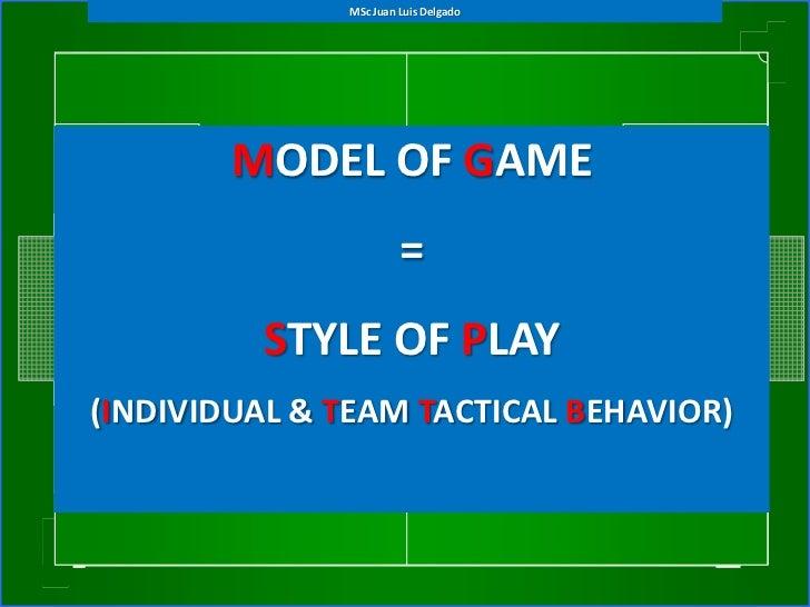 MSc Juan Luis Delgado        MODEL OF GAME                       =         STYLE OF PLAY(INDIVIDUAL & TEAM TACTICAL BEHAVI...