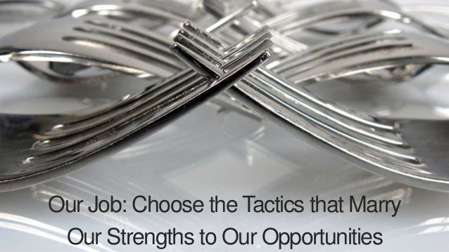 Our Job: Choose the Tactics that Marry  Our Strengths to Our Opportunities