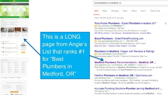 "This is a LONG  page from Angie's  List that ranks #1  for ""Best  Plumbers in  Medford, OR"""