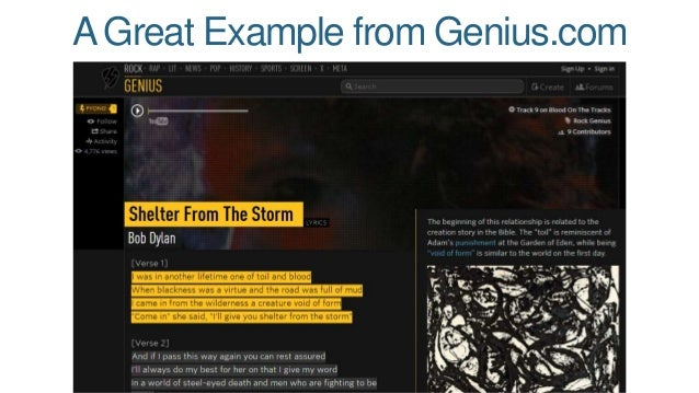 A Great Example from Genius.com