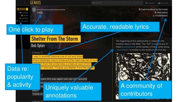 Accurate, readable lyrics  Uniquely valuable  annotations  A community of  contributors  One click to play  Data re:  popu...