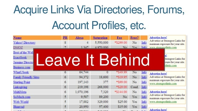 Acquire Links Via Directories, Forums,  Account Profiles, etc.  Leave It Behind