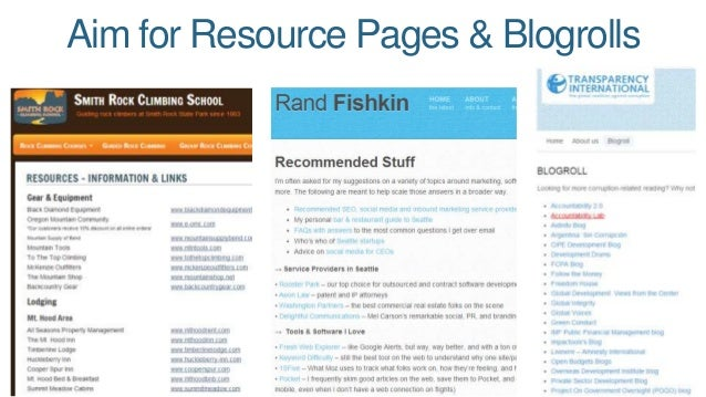 Aim for Resource Pages & Blogrolls
