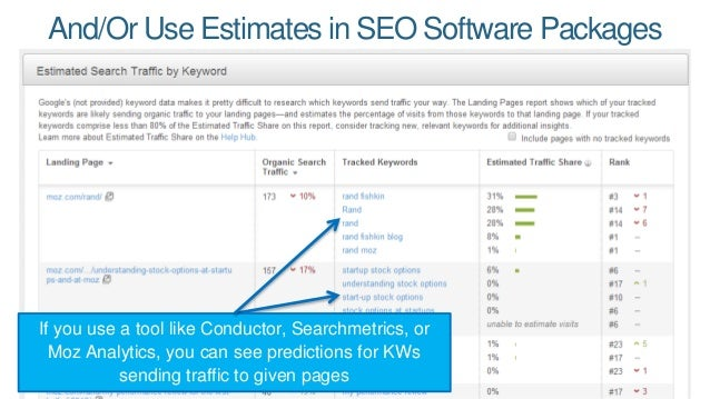 And/OrUse Estimates in SEO Software Packages  If you use a tool like Conductor, Searchmetrics, or  Moz Analytics, you can ...