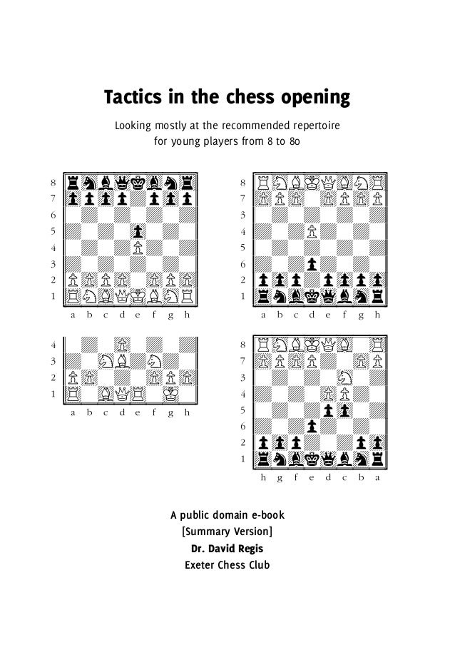 Tactics in the chess opening Looking mostly at the recommended repertoire for young players from 8 to 80 cuuuuuuuuC (rhb1k...