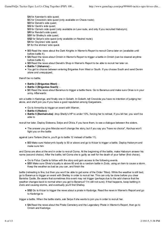 Tactics ogre let us cling together (psp) completionist guide