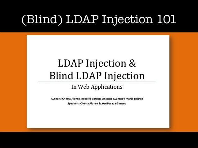 (Blind) LDAP Injection 101