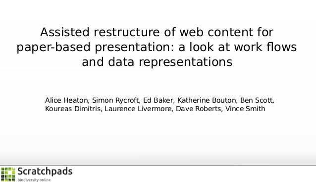 Assisted restructure of web content for paper-based presentation: a look at work flows and data representations Alice Heato...