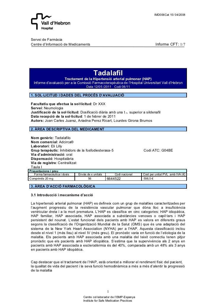 IMD006Cat 15/ 04/2008 Servei de Farmàcia Centre d'Informació de Medicaments                                               ...