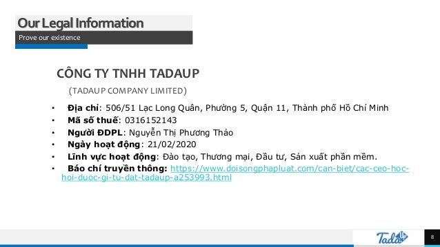 TREY research OurLegalInformation Prove our existence CÔNG TY TNHH TADAUP (TADAUP COMPANY LIMITED) • Địa chỉ: 506/51 Lạc L...