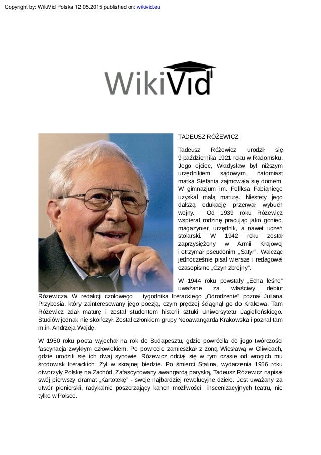 Tadeusz Rotadeusz Różewicz Biografiazewicz