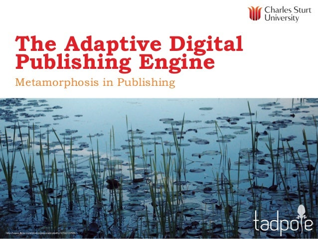 The Adaptive Digital Publishing Engine Metamorphosis in Publishing  http://www.flickr.com/photos/alisonelizabethx/47047225...