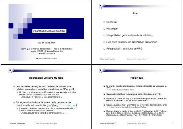 Régression Linéaire Multiple Massih-Réza Amini Techniques d'Analyse de Données et Théorie de l'Information Master M2 IAD –...
