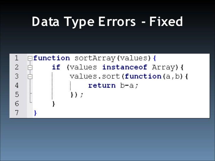 Data Type E rrors - Fixed