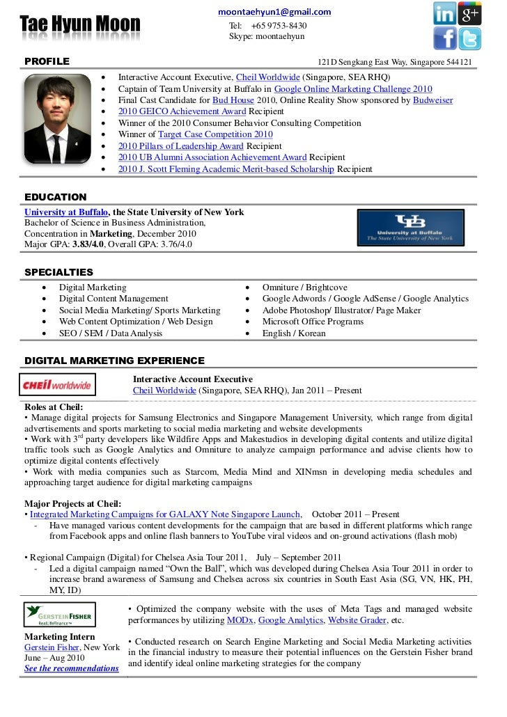 tel 65 9753 8430 - Brand Ambassador Resume