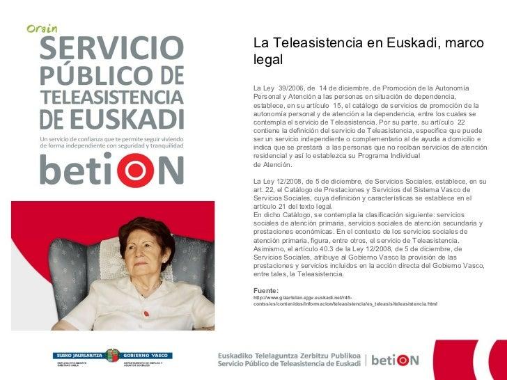 Servicio Público de Teleasistencia de Euskadi - Marco legal Slide 3