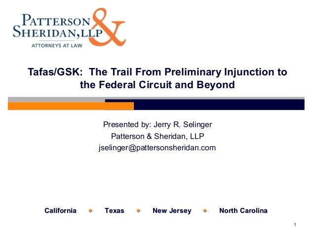 CaliforniaCalifornia  TexasTexas  New JerseyNew Jersey  North CarolinaNorth Carolina1Tafas/GSK: The Trail From Preli...